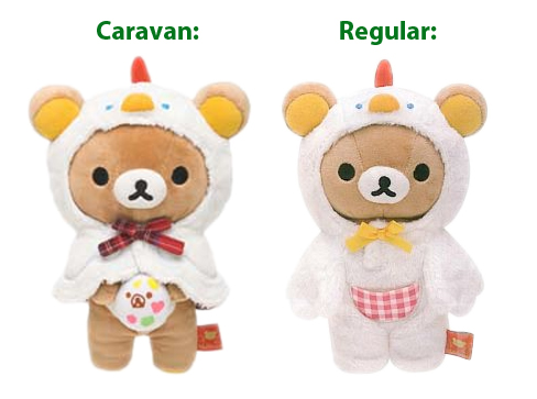 Caravan versus Normal Chicken Rilakkuma comparison