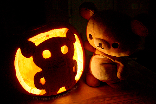 Rilakkuma pumpkin - carved and lit