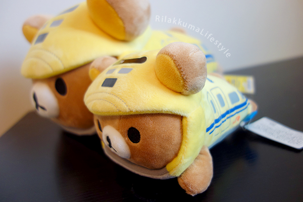 Rilakkuma Meets Dr. Yellow - hugging pillow and train plushie