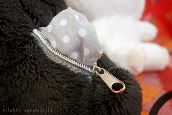 モノクロリラックマ - ぬいぐるみ - 白と黒を基調 - Monochrome Series - Rilakkuma Plush - Black and White Rilakkuma - black Rilakkuma zipper detail