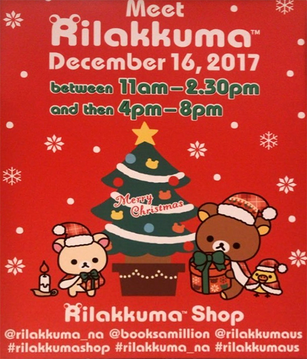 Rilakkuma Lifestyle - リラックマ - Rilakkuma Shop - Grand Opening - Christmas Event - Westfield Brandon Center Mall Florida - First Rilakkuma Shop in US - December event poster flyer snap