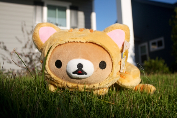 Rilakkuma Lifestyle - Rilakkuma plush - Tiger series - sleepy laydown - cat series - stuffed animal - cute - kawaii - のんびりネコ - リラックマ ぬいぐるみ - full front