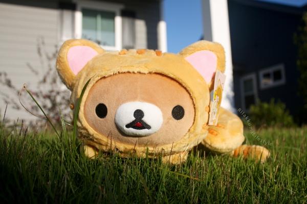 Rilakkuma Lifestyle - Rilakkuma plush - Tiger series - sleepy laydown - cat series - stuffed animal - cute - kawaii - のんびりネコ - リラックマ ぬいぐるみ - full front
